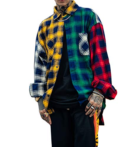 Floette Men Patchwork Tartan Plaid Shirts Casual Blouse Hip Hop Long Sleeve Boyfriend Button Down Gingham Checkered Shirt Unisex (XXL)