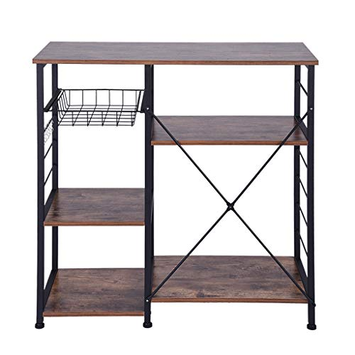 - Beyonds Kitchen Vintage Baker's Rack Utility, Microwave Oven Stand Storage Cart Metal Frame, Workstation Shelf with Basket Large Size