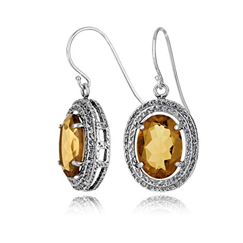 (Paz Creations .925 Sterling Silver Whiskey Quartz Textured Earrings With hypoallergenic hooks)