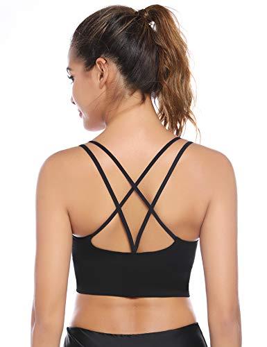 Aibrou Sport BH Rücken Verkreuzt ohne Bügel Yoga BH Atmungsaktiv Schock Absorber Compression Top Gepolstert