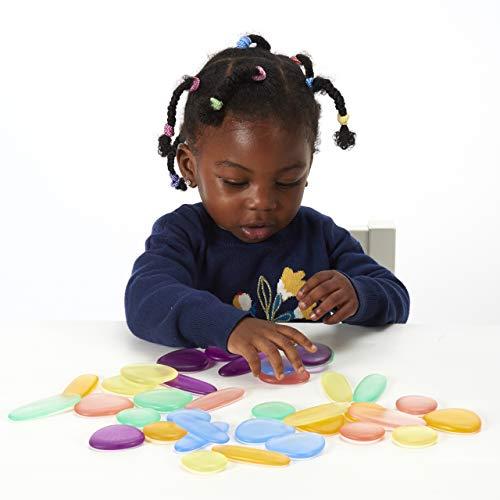 Edx Education Guijarros Arcoiris Junior Bote Mini Transparentes Piedras Para Ordenar Y Apilar Material Tactil Matematico Para Edad 18M
