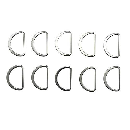 PETMALL 10pcs Metal D Ring 2 Inch 50MM Satin Nickel Plated Non Welded Large Size D-Rings for Buckle Straps Bags Belt,Q1891
