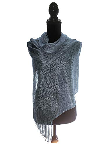 Cotton Metallic Scarf - TMS Womens Wedding Evening Wraps Shawl Glitter Metallic Prom Party Scarf with Fringe Scarves (Grey/Silver)