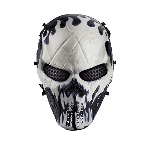 OutdoorMaster Airsoft Mask - Full Face Mask Mesh Eye Protection (Will-o'-The-wisp)]()