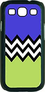Black and White Chevron with Purple and Green Colorblock- Case for the Samsung Galaxy S3 i9300 -Hard Black Plastic Case