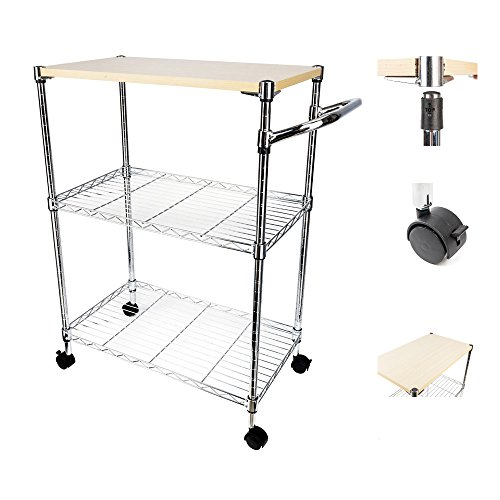 Cu ALightUp 3-Tier Wire Rolling Kitchen Microwave Cart | Kitchen Island Trolley with Locking Wheels | Removable MDF Cutting Board | for Cooking Utensils or Food Storage, , Chrome 23.6 x 13.8 x 33.5