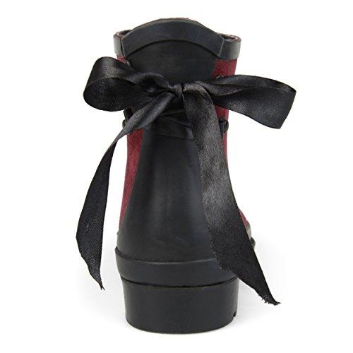 Journee Collection Bow Féminin Simili Daim Cheville Rainboots Vin