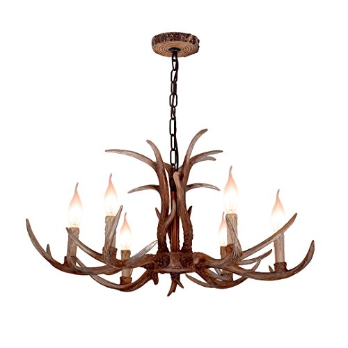 (YHF Resin Antler Chandeliers 6 Light 30.7