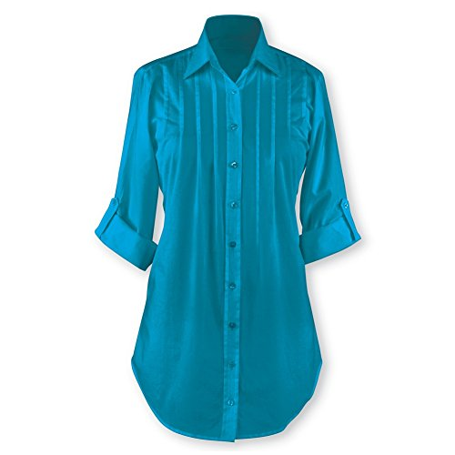 Collections Etc Women's Pintuck Button Front Tunic Top, Teal, XX-Large (Top Pleated Front Collection)