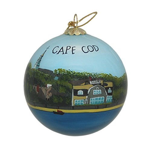 Hand Painted Glass Christmas Ornament - Cape Cod Water Shoreline and -