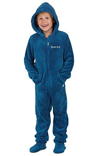 PajamaGram Hoodie-Footie Blue Fleece Onesie Pajamas, Blue, Youth 8
