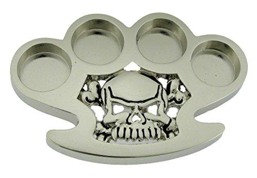 Skull Knuckles Chrome Silver Metal Rock Rebel Skeleton Halloween Belt Buckle (Skull Buckle Metal)