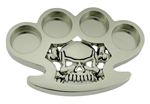 Wholesale Buckle Skull Belt - Skull Crossbones Knuckles Silver Metal Rock Rebel Skeleton Logo Belt Buckle