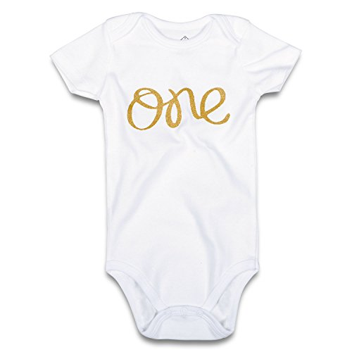 (OPAWO Baby Girls Boys First Birthday Bodysuit Glitter Gold One 1st Birthday Outfit (12-18 Months, White Short) )