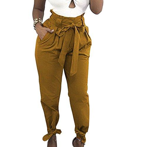 Masterein Femmes Fille Bowknot Bandage Taille Haute Pantalon Crayon Casual Pantalons Solid Color jaune