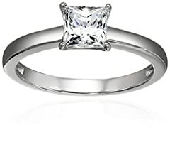 An Amazon brand - Princess brilliant cut ring set with Swarovski Zirconia (1 cttw), secured with 4 prongs
