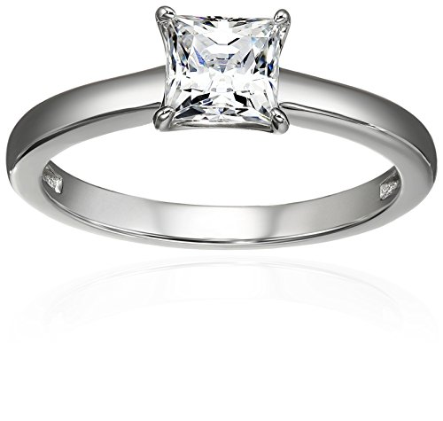 ling Silver Princess-Cut Solitaire Ring made with Swarovski Zirconia (1 cttw), Size 9 ()
