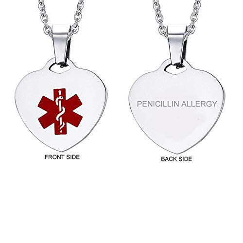 (VNOX Stainless Steel PENICILLIN Allergy Heart Medical Alert ID Pendant Necklace for Men Women,20 Inches)