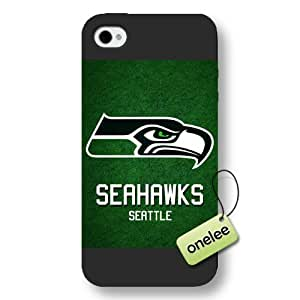 Personalize NFL Seattle Seahawks Logo Frosted iPhone 4 Black Case - NFL San Diego Chargers Team Logo Frosted iPhone 4s Case Cover - Black by kobestar