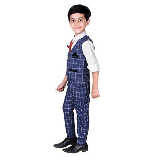 41wi1 2%2B3OL. SS500  - ahhaaaa Boy's Blended Waistcoat, Shirt, Tie Trouser Set