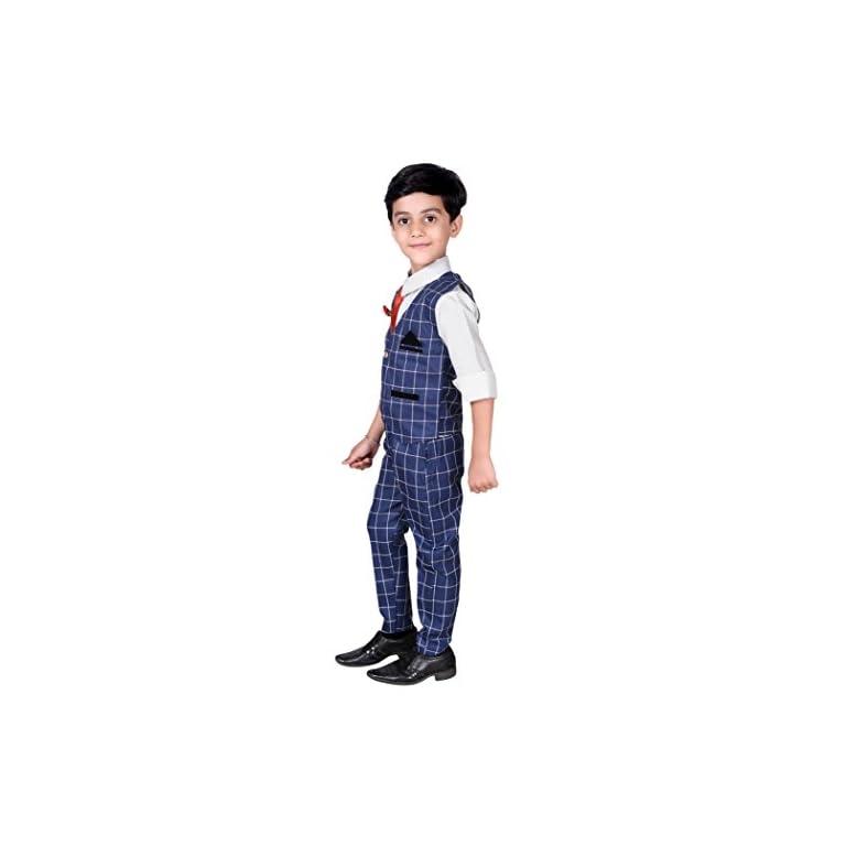 41wi1 2%2B3OL. SS768  - ahhaaaa Boy's Blended Waistcoat, Shirt, Tie Trouser Set