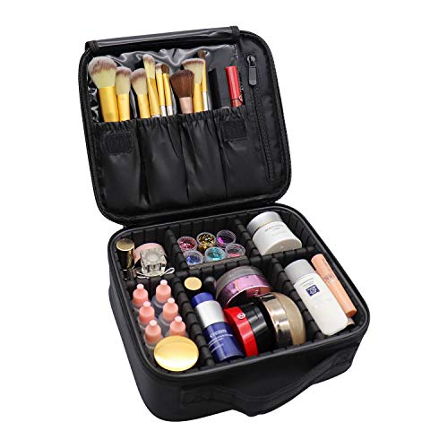 Rolybag Travel Makeup Case Portable Organizer Cosmetic Case With Adjustable Dividers Big Capacity Makeup Bag For Makeup Brush Set Jewelry Travel Accessories Black