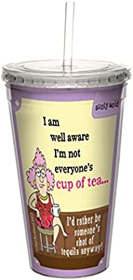 Aunty Acid Cup Of Tea Tree-Free Greetings 16-Ounce Double-Walled Cool Cup with Reusable Straw CC98603