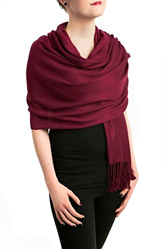 Opulent Luxury Women Pashmina Cashmere Scarf Shawl Wrap Embellished with Healing Swarovski Crystal Dark Burgundy 80