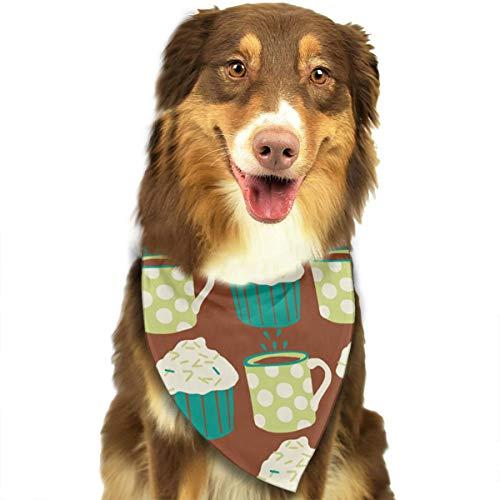 Sheery Coffee and Cupcake Pet Scarf Dog Bandana Bibs Triangle Head -