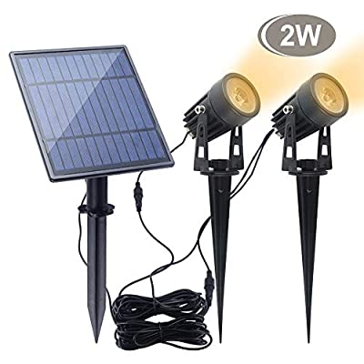 Led Solar Spotlights 2W?APONUO Led Solar Powered Landscape Lights Low Voltage IP65 Waterproof 16.4ft Cable Auto On/Off with 2 Warm White for Outdoor Garden Yard Landscape Downlight