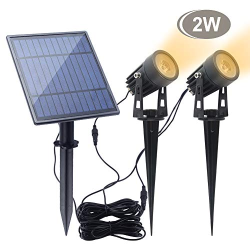Led Solar Spotlights 2W,APONUO Led Solar Powered Landscape Lights Low Voltage IP65 Waterproof 16.4ft Cable Auto On/Off with 2 Warm White for Outdoor Garden Yard Landscape Downlight