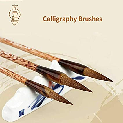 PAPKING Chinese Calligraphy Pen Brush 3 Pcs 11.26 inch Japanese Korean Sumi Drawing Brush Style Traditional Art Paint Writing Black Brown Oil Painting Hook Line Fine Stationary (Wool Hair)