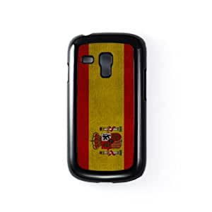 Spain Flag on - Spanish Flag - Flag of Spain - Bandera de Espana Black Hard Plastic Case Snap-On Protective Back Cover for Samsung® Galaxy S3 Mini by UltraFlags + FREE Crystal Clear Screen Protector