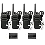 Retevis RT28 Walkie Talkies 4 Pack VOX Hand Free FRS 16 Channels Emergency Rechargeable Two-Way Radios Long Range with Earpiece Headset 2 Pin