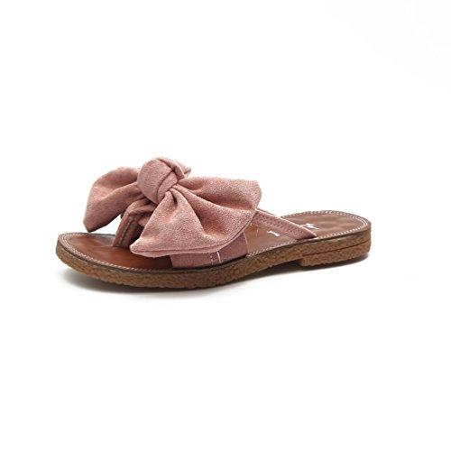 Tongs Plats Talons Chaussure Mules Flip Claquette Mode Nœud Été Femmes Sandales Plage Rose Flop TEqqx5tzrw