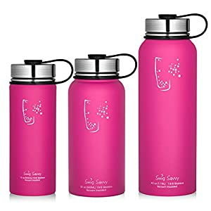 Swig Savvy Water Bottles Stainless Steel - Vacuum Insulated Water Bottle + Stainless Steel Leak & Sweat proof Cap Double Wall Thermos Flask For Hot or cold Beverages (Pink, 30oz)