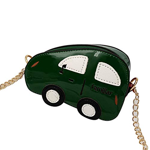 Gallity Small Crossbody Purse Cartoon Car Mini Handbag Messenger School Shoulder Bag Coin Purse for Kids Toddler Girls (Green) -