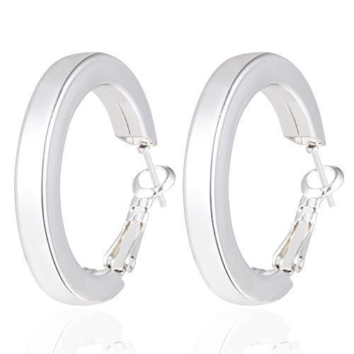 - Fashion Sterling Silver Hoop Earrings for Women Girls 5MM Thick Polished Square Tube Hoop Stud Earrings