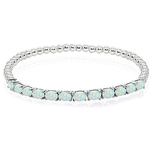 - Sterling Silver Simulated White Opal Oval Beaded Stretch Tennis Style Bracelet