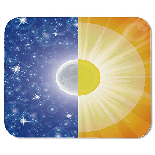 Apartment Decor Ordinary Mouse Pad,Split Design with Stars in The Sky and Sun Beams Light Solar Balance Image for Computers Laptop Office & Home,7.87''Wx9.45''Lx0.08''H