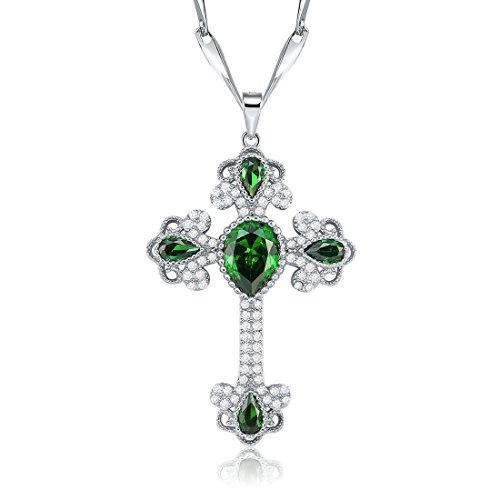 Created Emerald Cross - Merthus Womens 925 Sterling Silver Created Emerald Cross Necklace