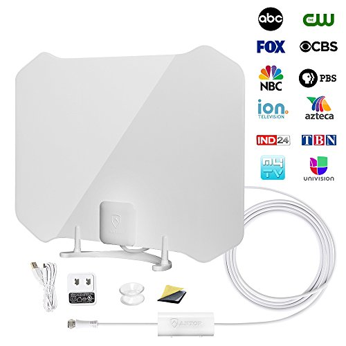 TV Antenna, ANTOP Digital Amplified Indoor HDTV Antenna 50 Mile Range with Amplifier Signal Booster Omni-directional Reception and 10FT High Performance Coax Cable UL Certificate (Thin Fri)