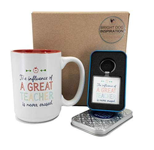 Bright Dog Inspiration Teacher Appreciation Gift Box | Influence of a Great Teacher is Never Erased Mug and Keychain