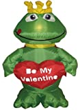 4 Foot Valentines Day Inflatable Frog King with Sweet Heart Yard Decoration