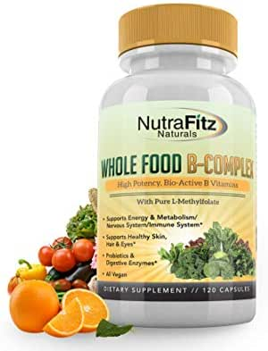 NutraFitz Naturals B Complex Vitamins - B Vitamins Whole Food Supplement, B12 Methylcobalamin, B1, B2, B3, B5, B6, B7, B9 - For Stress, Energy and Immune Support, Vegan, 120 Capsules