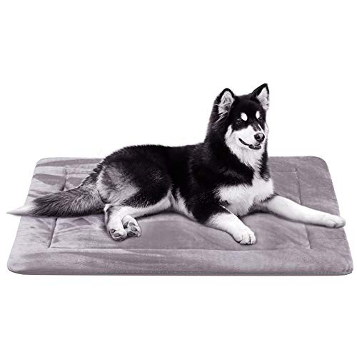 (Large Dog Bed Crate Mat 42 In Washable Pet Beds Soft Dog Mattress Anti-Slip Kennel Mats,Grey L)