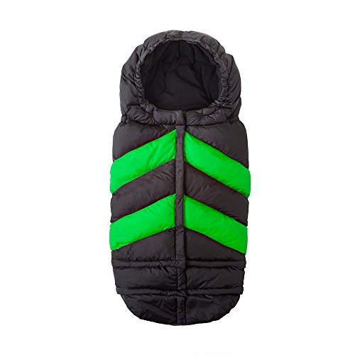 7AM Enfant Blanket 212 Chevron Wind and Water-Resistant, Universal and Versatile Stroller and Car Seat Footmuff, Best for Freezing Winter Conditions (Black/Neon Green, One Size 0-4T) by 7AM Enfant