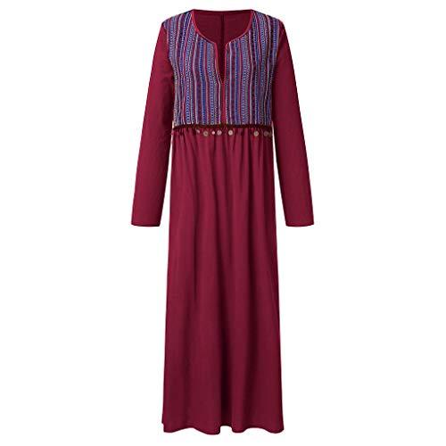 Tantisy ♣↭♣ Women's Vintage Plus Size Print Maxi Dress National Style V-Neck Summer Casual Dress Sleeveless/Long Sleeve