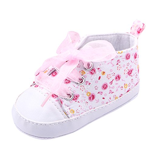 Weixinbuy Baby Girl's Floral Prewalker Soft Sole Ribbon Non-slip Sneaker (12-18 months, pink)