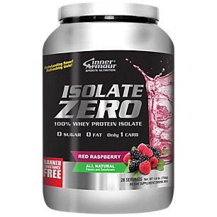 Inner Armour Isolate Zero All Natural Red Raspberry Flavor | Pre Workout 100% Whey Protein Isolate | Organic Protein Powder | Workout Supplements for Men & Women |
